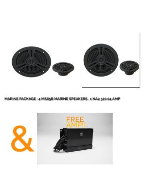 JBL MARINE 2 Pair Of MS65B SPEAKERS + NA2.320.04 MARINE AMP New