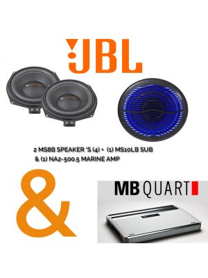 Marine Package JBL MS8B Speakers + MS10LB Sub + MBQUART NA2-500.5 Marine Amp