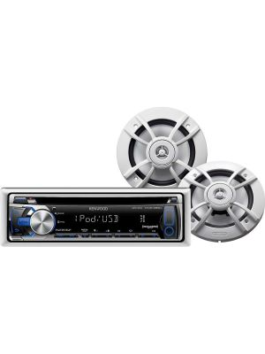 Kenwood PKG-MR355U Marine Receiver and Speakers Package (KMR-355U Receiver and KFC-1633MRW Speakers)