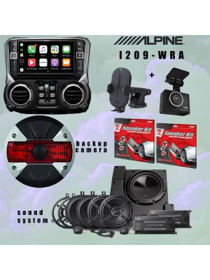Alpine I209-WRA Receiver/ Sound system and Rearview/ Dash camera bundle PLUS MORE