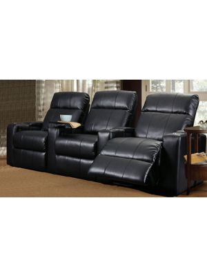 RowOne RO8013T-08P Two Arm Power Recliner 121B Black Bonded Leather