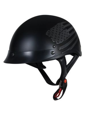 Torc T55 Half Shell Low Down Flat Black Flag Graphic Large Helmet T55.215FG24