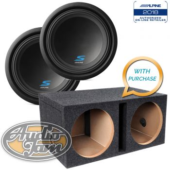 Two Alpine S-W12D2 S-Series Subwoofers + E12DSV Vented Subwoofer Enclosure Box (BUNDLE PACKAGE)