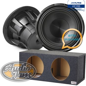 Two Alpine X-W12D4 12-Inch Dual 4 Ohm Subwoofers + 12DVN Vented Subwoofer Enclosure Box (BUNDLE PACKAGE)