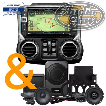 Alpine X209-WRA-OR In-Dash Restyle System + Alpine Restyle PSS-20WRA Direct-fit Complete Speaker System for select 2007-2014 Jeep Wrangler Unlimited models (BUNDLE PACKAGE)
