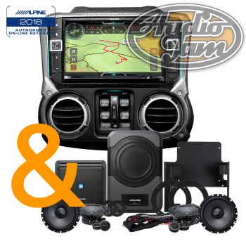 Alpine X209-WRA-OR In-Dash Restyle System + Alpine Restyle PSS-21WRA Direct-fit Complete Speaker System for select 2015-up Jeep Wrangler Unlimited models (BUNDLE PACKAGE)