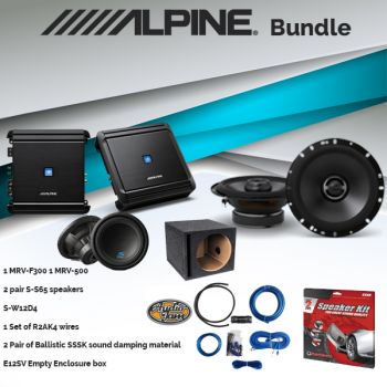Alpine MRV-F300 Amplifier & S-S65 6.5-inch 2-Way Speaker & R2AK4 Amp Kit & SSSK Speaker Kit & Alpine MRV-M500 Mono Amplifier & S-W12D4 12