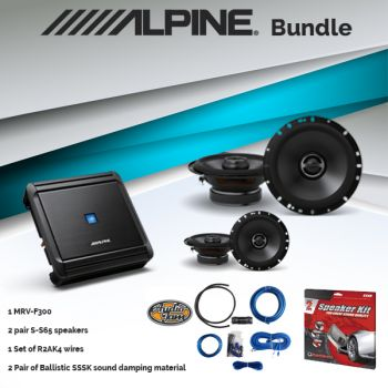 Alpine MRV-F300 Amplifier & Two Pairs of S-S65 6.5-inch 2-Way Speaker & R2AK4 Amp Kit & SSSK Speaker Kit (BUNDLE PACKAGE)