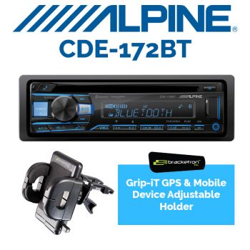Alpine CDE-172BT Single DIN Bluetooth Car Stereo Receiver & Bracketron PHV202BL Grip-iT GPS and smart device vent mount (BUNDLE PACKAGE)