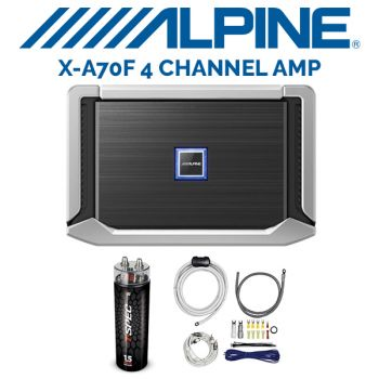 Alpine X-A70F X-Series 4-channel car amplifier  & T-Spec Capacitor V6-1-5ddc 1.5-farad capacitor with red LCD meter& T-Spec V10-RAK4 4-gauge amplifier wiring kit — includes 2-channel patch   (BUNDLE PACKAGE)