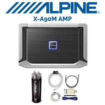Alpine X-A90M X-Series mono subwoofer amplifier & T-Spec Capacitor V6-1-5ddc 1.5-farad capacitor with red LCD meter& T-Spec V10-RAK4 4-gauge amplifier wiring kit — includes 2-channel patch   (BUNDLE PACKAGE)