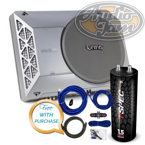 Infinity BassLink SM 8 Compact Powered Under-Seat Subwoofer Enclosure with Amp Kit & Capacitor (BUNDLE PACKAGE) (Discontinuted)
